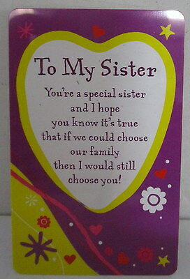 "Heartwarmer Keepsake Message Card ""to My Sister "" Lovely Verse Birthday Gift"