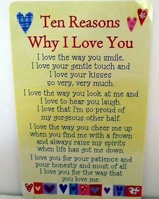 "Heartwarmer Keepsake Message Card ""10 Reasons Why I Love You"" With Lovely Poem"
