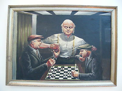 A Framed Oil On Board Painting Gemtlemen Playing Chess Signed Norman Jones