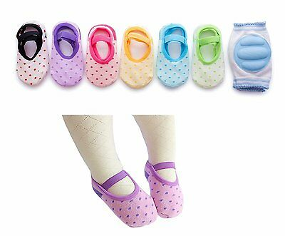 6 Pairs Anti Slip Crawling Baby Foot Socks Shoes & 1 Pair Knee Elbow Pads