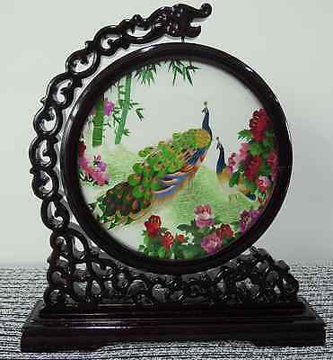Chinese double-sided silk embroidery ornament peonies flowers and peacock screen