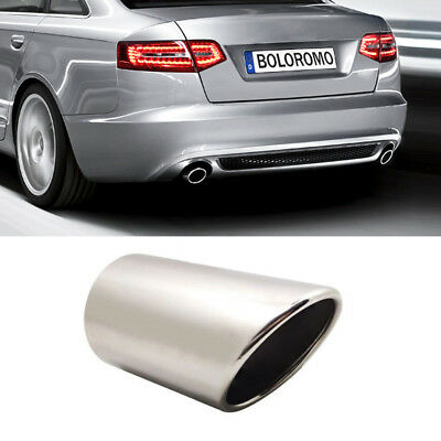 Chrome Exhaust Pipe Muffler Trim Tail Tip Stainless Steel For Audi A6 4F C6