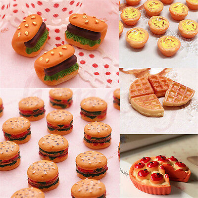 2Pcs New Resin Pizza Sausage Bread Bakery Food Miniature Dollhouse Decor