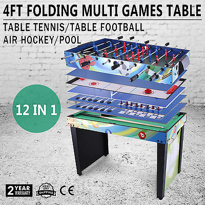 4 FT 12 IN 1 Folding Multi Games Play Table Gift Ring Toss Pool Ring Toss,