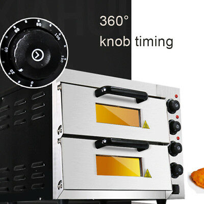 Commercial Double Electric Pizza Oven 220V 3000W Pizza Bread Making Machine