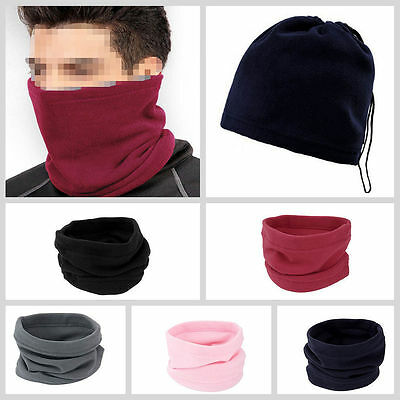 Unisex Warm Anti-Cold Fleece Snood Scarf Neck Warmer Beanie Ski Balaclava NEW O