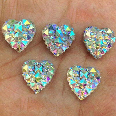 LOTS  100Pcs 10mm  3D Charms Silver Heart Shape Faced Flat Back Resin Beads DIY
