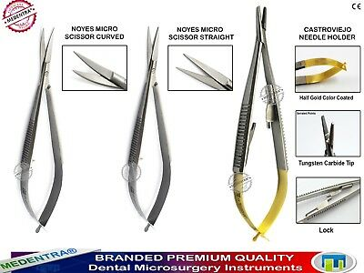Dental Castroviejo Needle Holder Noyes Spring Suture Forceps Dissecting Scissors
