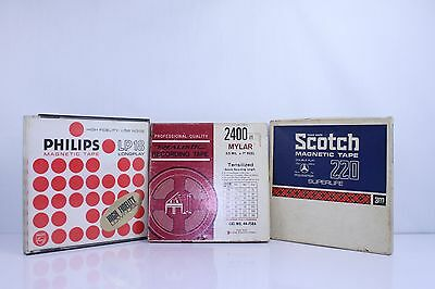 3 x  Vintage Reel Magnetic Recording Tapes  Scotch Realistic  Philips LP18 (sa2)