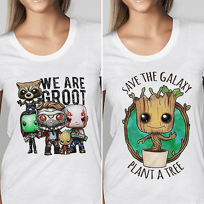 Womens Designer Guardians of The Galaxy - Baby Groot - Printed Cotton T-Shirt