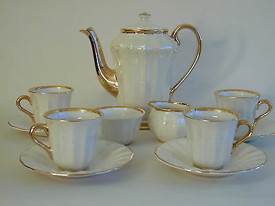 Beautiful Wade lustre ware gilded coffee set for four