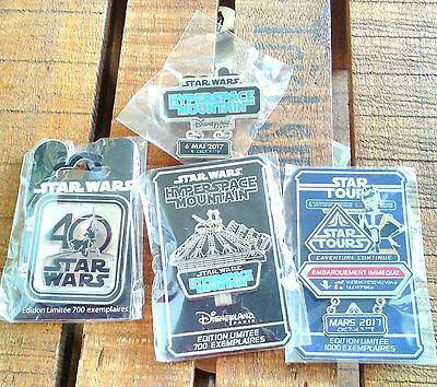 Lot de 4 pin's Disneyland Paris Star Wars - Star Tour en Édition Limitée - Rare