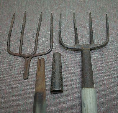 2 Antique Iron Fishing Spears Frog Gigs Hand Forged 4 Prong, Primitive Americana