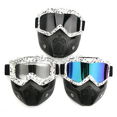 Game Hunting Motorcycle Bike Riding Detachable Face Guard Mask Helmet + Goggles