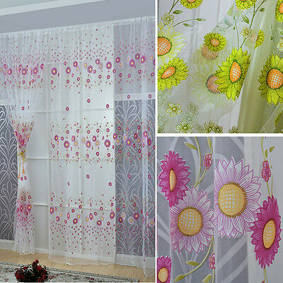 Fashion Sunny Sunflower Door Window Curtain Set With Valance Panel Sheer Valance