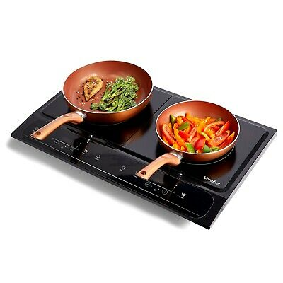 VonShef Digital 2800W Twin Double Induction Hob Electric Cooking Hob in Black