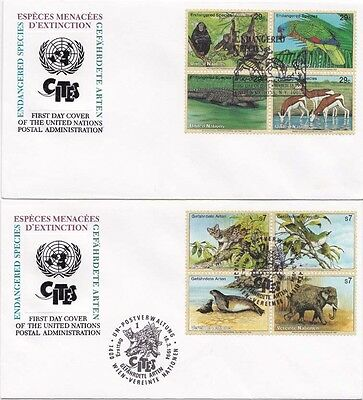 United Nationd 1995 FDC 3 items  Aninmals Endangered Specis