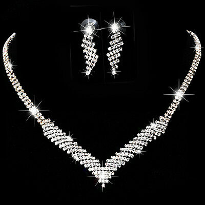 Silver Crystal Wedding Party Prom Necklace Earring Bridal Diamante Jewelry Sets