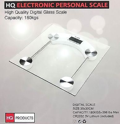 New 180 KG Digital Glass Electronic LCD Body Weighing Scales Bathroom Square