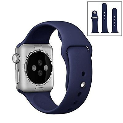 Apple Watch 38mm Sports Band Replacement Silicone Strap Series 1/2 Navy Blue