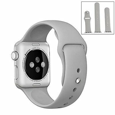 Apple Watch 38mm Sports Band Replacement Soft Silicone Strap Series 1/2 Grey