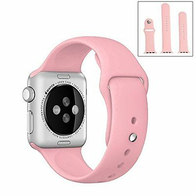 Apple Watch 38mm Sports Band Replacement Soft Silicone Strap Series 1/2 Pink