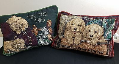 2 Vintage Cushion with Puppy Dogs Golf Print & Box - 1 Green 1 Maroon Back B07