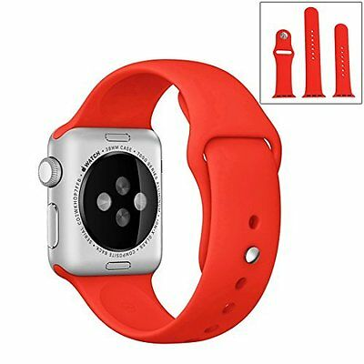 Apple Watch 38mm Band Replacement Silicone Soft Strap Sports Band Series 1/2 Red