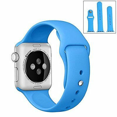 Apple Watch 38mm Band Replacement Silicone Soft Strap Sport Band Series 1/2 Blue