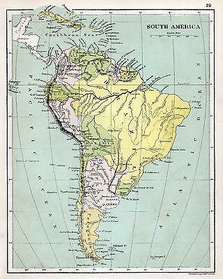 Map of South America  1906  Print  10 X 8