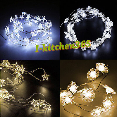 2M 20LED Flexible Vine Micro Silver Wire Lights Stars Snowflake Battery Operated