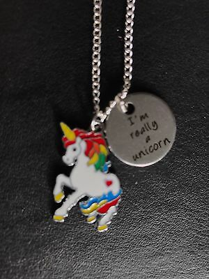 "Lovely 'I'm Really A Unicorn' Necklace 18"" Silver plated Chain Enamel Charm Gift"