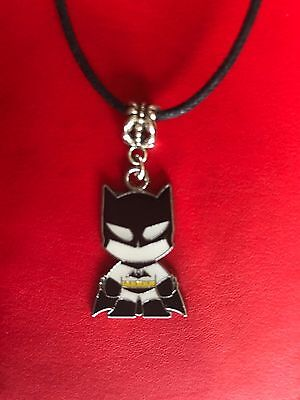 BATMAN SUPER HERO NECKLACE PENDANT black waxed Cord approx 17 in  in gift bag