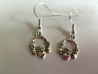 CLADDAGH CELTIC IRISH FRIENDSHIP Drop Earrings Tibetan Silver Great Gift Present