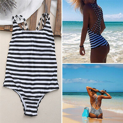 Women Summer One Piece Swimsuit Monokini Stripe Swimwear Push Up Padded Bikini
