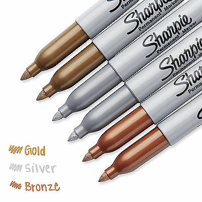 Permanent Metallic Markers Durable Fine Point Tip Assorted Colors 6 Pack Set NEW