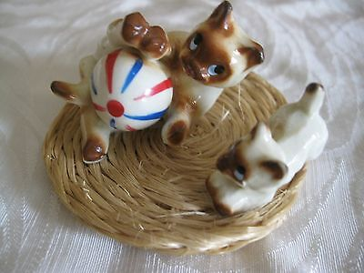 "Vintage Bone China /Siamese Cats Playing on a straw rug / 2 1/2""  wide / Japan."
