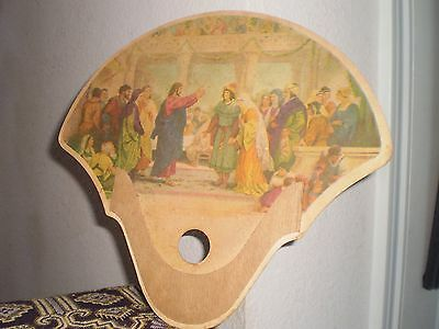 """VINTAGE CHURCH OR FUNERAL HOME HAND-HELD CARDBOARD FAN; FINGER/THUMB HOLE;9""""x10"""""""