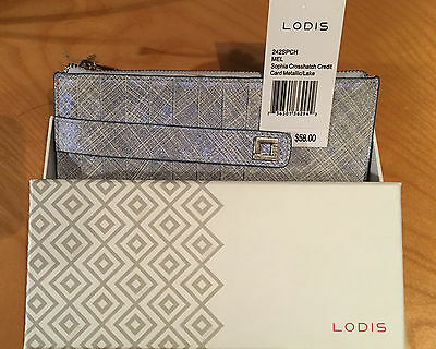 LODIS Sophia Crosshatch Leather Credit Card Case Silver Blue Metallic  NWT + box