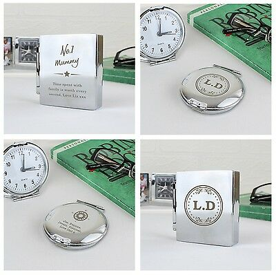 Personalised Travel Clock Gifts Ideas Keepsakes Silver Fathers Day Travelling