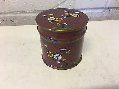 Antique Chinese Red Cloisonne Humidor Jar / Box w/ Flowers Decoration
