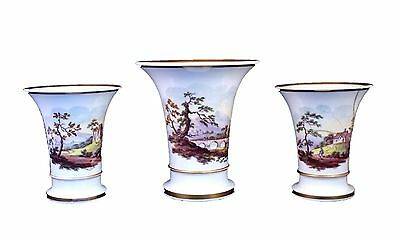 Gorgeous Set Of Three Antique English Porcelain Tapered Trumpet Vases