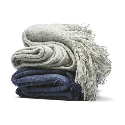 Thredbo Soft Faux Mohair Throw Rug Blanket Grey/Blue Home Decor