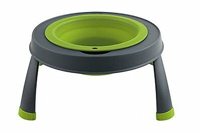 Dexas Popware Elevated Collapsible Platform Single Pet Feeder | Green | Large