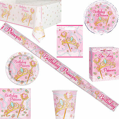 Girls Pink Princess Birthday Tableware & Decorations + Gift & Party Bags