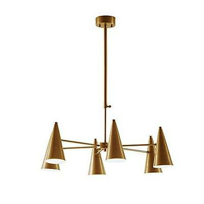 Mid Century Modern Chandelier with 6 Spun Cone Arms in Antique Gold Finish