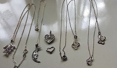 "LOT VINTAGE -SILVER 925/ STERLING JEWELRY-""""-SCRAP OR NOT"""" chains and pendants"