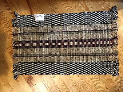 Williamsburg Rag Rug Burdett Stripe- 2' x 3' - 100% Cotton - color - Black