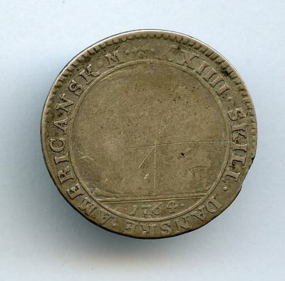 1764 Denmark West Indies Silver 24 Skilling AG/GD
