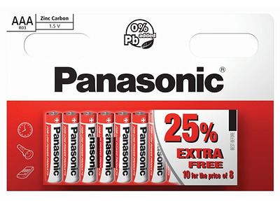 10 x AAA Genuine PANASONIC Zinc Carbon Batteries - New LR03 1.5V MN2400 Exp 2020